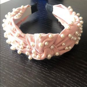 NEW pink headband with simulated pearls